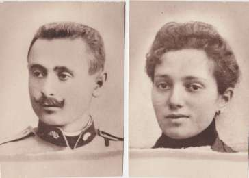 Photograph of Mordechai and Rivka Grossman, taken in the 1920s. Mordechai served in the army of Franz Joseph.