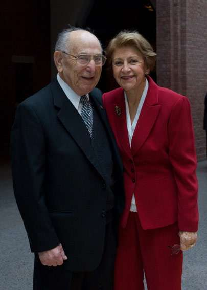 Miles Lerman and his wife, Chris, pose for a picture in the Museum&#8217;s Hall of Witness. <i>US Holocaust Memorial Museum</i>