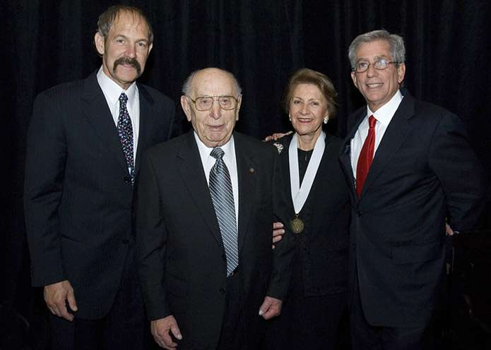 Miles Lerman (second from left) and his wife, Chris, take part in in the 2006 Days of Remembrance events with Council Vice Chairman Joel Geiderman and Chairman Fred Zeidman. <i>US Holocaust Memorial Museum</i>