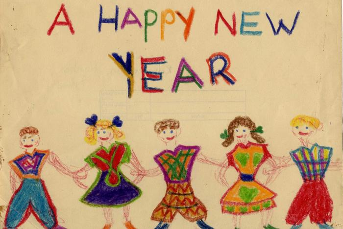 "Drawing by a child survivor of the Holocaust who came under the care of Alice Goldberger at Weir Courtney. The drawing depicts five figures and includes the words ""A Happy New Year."" United Kingdom, postwar."