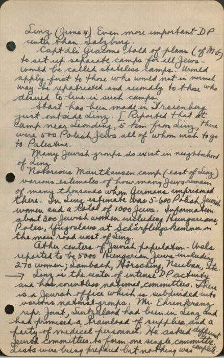 Page from Earl G. Harrison's notebook, recording his impressions of Linz, Austria, while on a tour of displaced persons camps in 1945.