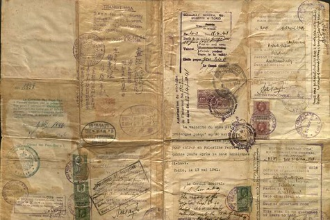 This document bears witness to the vast array of bureaucratic stamps and visas needed to emigrate from Europe in 1940–41.