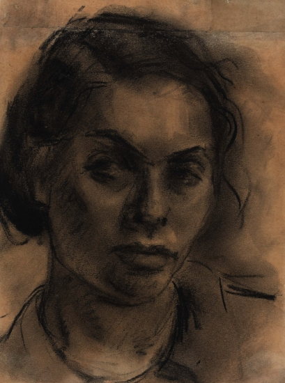 Jewish artist Gela Seksztajn (1907–1943) donated some 300 drawings and watercolors to the Oneg Shabbat archive, including her self-portrait. Seksztajn perished with her family in April 1943. Her artwork survived and was recovered in September 1946. <i>Jewish Historical Institute, Warsaw</i>