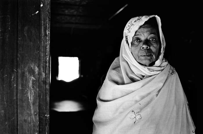 Ayessa, 55 years old, fled her home in Sittwe for an internally displaced persons camp after her husband, brother, and two sons were killed in anti-Rohingya violence in 2012.