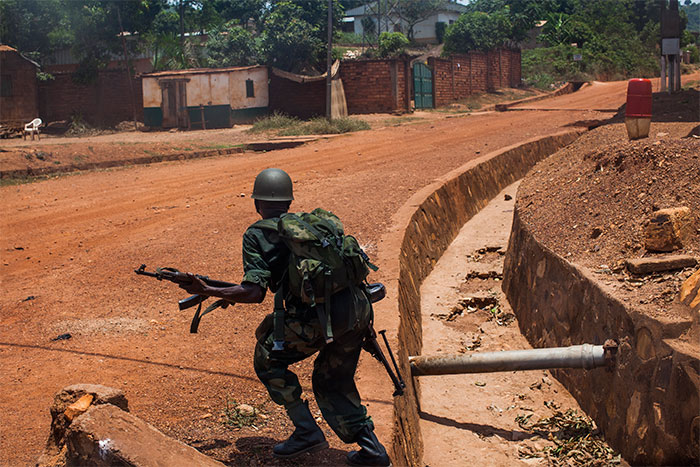 Rwandan African Union soldiers patrol Bangui. March 2014.