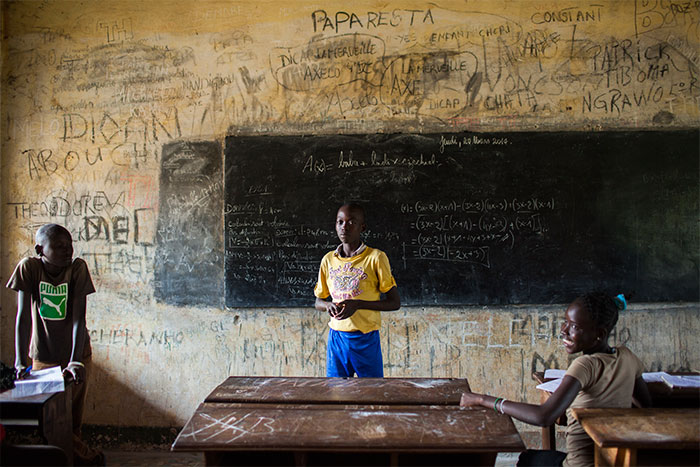 This secondary school outside of Bangui was formerly attended by both Christian and Muslim students. March 2014.