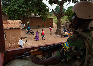 A Rwandan soldier stands guard at an African Union base in Bangui. March 2014.