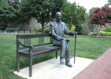Statue of Karski on the campus of Georgetown University, where he was a professor for four decades. Washington, DC.