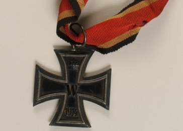 Iron Cross medal awarded to German-Jewish soldier Max Wachtel for valorous service during World War I. During the Nazi era, Max's business was confiscated because he was Jewish. In 1938 he and his family left Germany and settled in the United States.