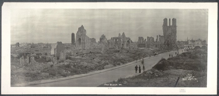 Postwar destruction in Ypres, Belgium. 1919.