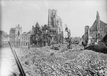 Ruins of a town hall destroyed during wartime fighting. Arras, France, May 1917.
