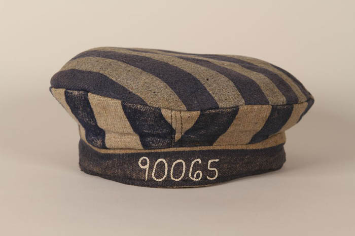 Concentration camp inmate uniform cap issued at Auschwitz and worn by Henry Carter.