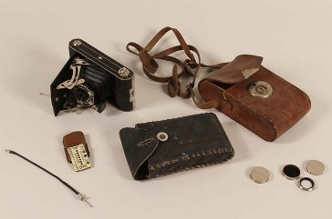This camera equipment belonged to Walter Hunkler, a sergeant assigned to a medical detachment of the 160th Field Artillery Battalion, which entered Dachau on April 29, 1945