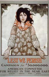 "The plight of the Armenians triggered an unprecedented public philanthropic response in the United States. Many private American citizens were active in providing relief for Armenian survivors. This poster illustrates the ""Lest We Perish"" campaign of the American Committee for Relief in the Near East to raise $30,000,000 for relief in Armenia, Greece, Syria, and Persia. Text on the poster also indicates that Cleveland H. Dodge was the treasurer of the committee, which was located at One Madison Ave, New York."