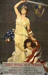 "1918 Poster titled ""They Shall Not Perish."" Depicts a girl who symbolized the Near East, clinging to woman with sword and US flag, symbolizing America. American Committee for Relief in the Near East campaign to raise money for Armenia, Greece, Syria, and Persia."