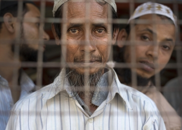 Rohingya gather at a mosque in an internment camp. Mosques throughout the country have been attacked, destroyed, and sometimes turned into Buddhist temples.