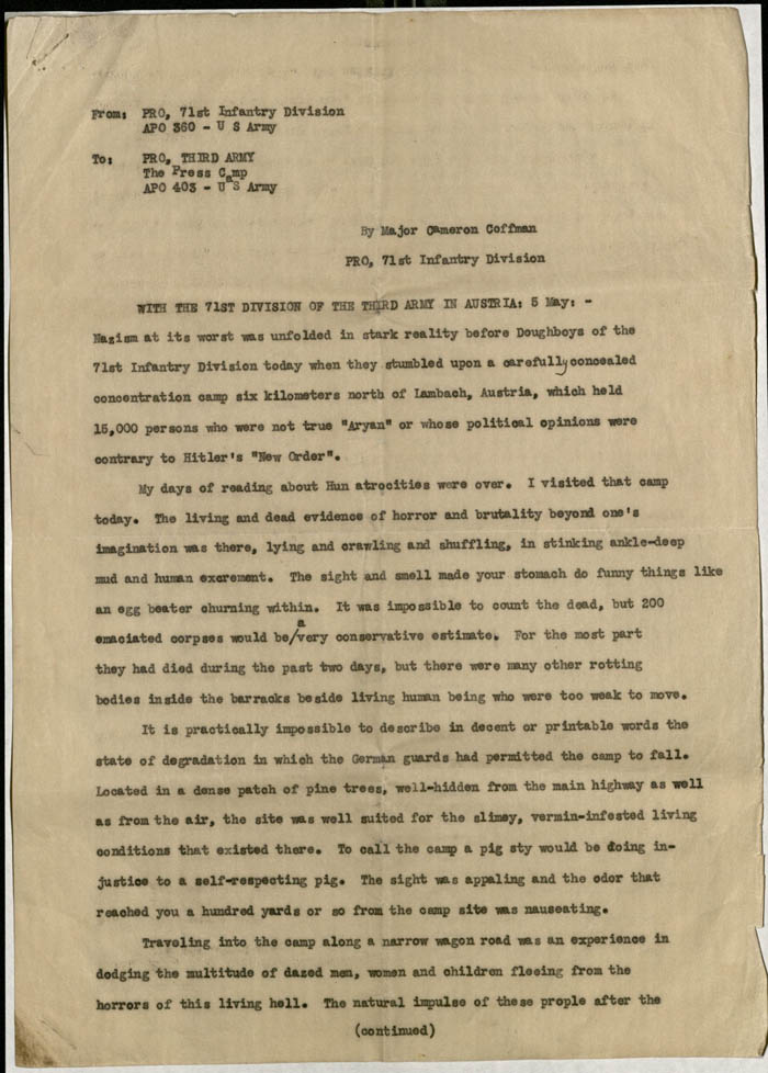An undated report by Major Cameron Coffman describing the conditions in the camp and the activities of the 71st Infantry Division in the liberation of the camp.