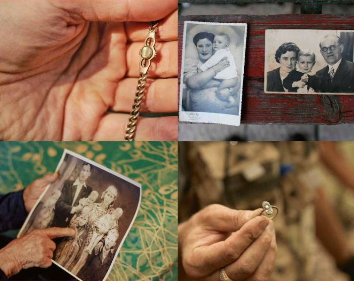 Collage showing family photographs and items recovered from a mass killing site. Pictures taken during Yahad – In Unum's investigations across Ukraine, Russia, Belarus, Poland, Moldova, Lithuania, and Romania to locate every mass grave and site at which Jews, Roma (Gypsies), and other victims were killed during the Holocaust.