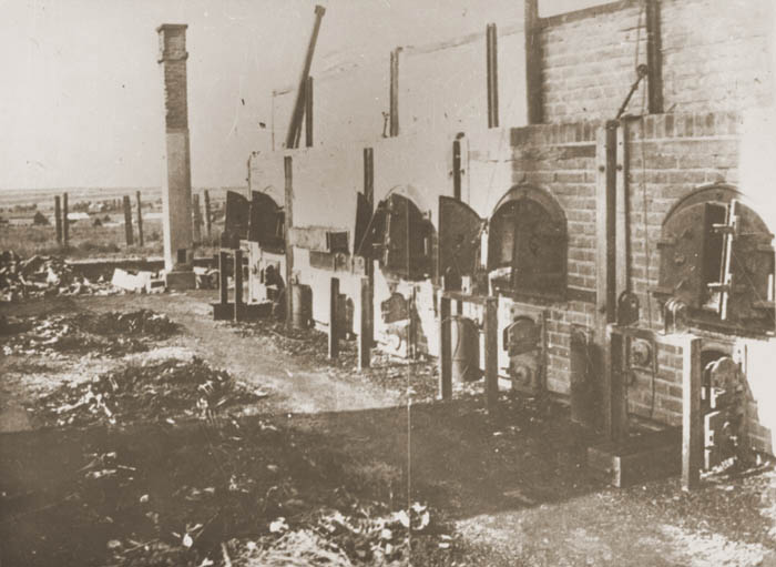 View of the crematoria ovens at Majdanek with piles of bones in front of them. This photograph was taken following the liberation of the camp.