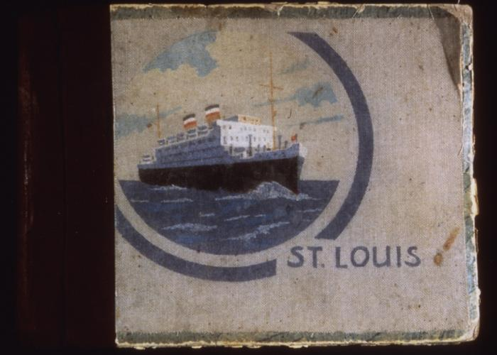 Photo album containing photographs taken by a passenger aboard the <i>St. Louis</i>, with a depiction of the ship on the cover.