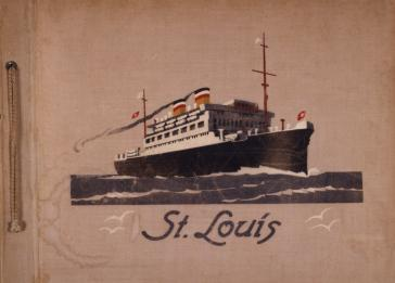 Cover of a photo album belonging to St. Louis passenger Fritz Buff. The cover features an image of the ship.