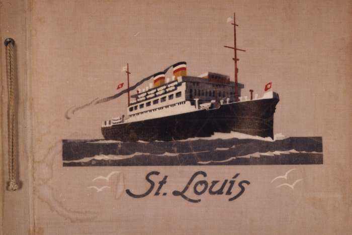 Cover of a photo album belonging to SS <i>St. Louis</i> passenger Fritz Buff featuring an image of the ship.