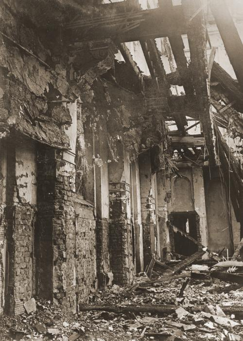 View of the old synagogue in Aachen after its destruction on Kristallnacht.