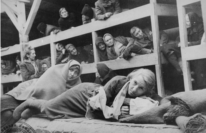 Women in the barracks of the newly liberated Auschwitz concentration camp.