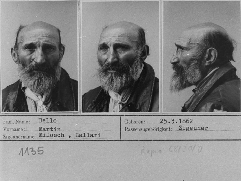 Mug shots of Martin B., who was interned at the Gypsy camp at Halle when taken into police custody. Germany, 1940.