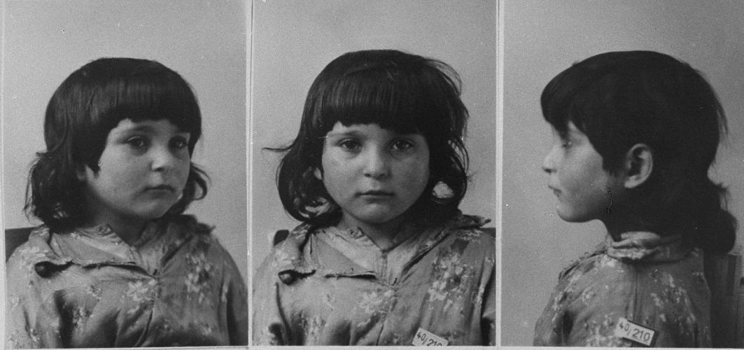 Mug shots of Sofie B., who was interned at the Gypsy camp at Halle when taken into police custody. Germany, 1940.