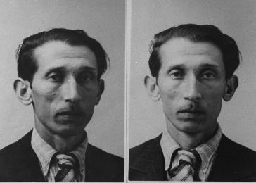 Mug shots of Joschka K., who was interned at the Gypsy camp at Halle when taken into police custody. Germany, 1940.