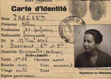 False papers issued to Ellen Mendels under the name Helene Pascaud.