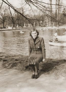 Kathe Spiegler, the half-sister of Eugen Spitzer, poses near a pond in Vienna.
