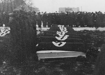 The funeral of SS officers killed in the December 26, 1944, Allied bombing of Auschwitz.