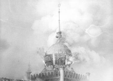 Flames burst forth from the windows of the cupola of the Annaturmstraße synagogue in Euskirchen on the morning after Kristallnacht.