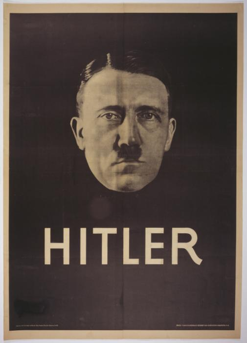Hitler election poster, 1932. Modern techniques of propaganda—including strong images and simple messages—helped propel Austrian-born Adolf Hitler from being a little-known extremist to one of the leading candidates for Germany's presidency in 1932. <i>US Holocaust Memorial Museum, courtesy of Heinrich Hoffmann</i>