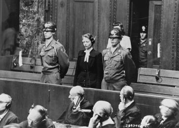 Herta Oberheuser, physician on trial for having conducted medical experiments on concentration camp prisoners. Nuremberg, Germany, August 1947.