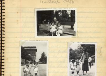 Page from a baby book containing five photographs of Jacqueline Mendels at age 1.
