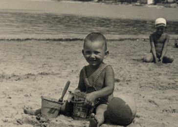 Manny Mandel plays on the beach with his toys in Crikvenica on the Dalmation coast.