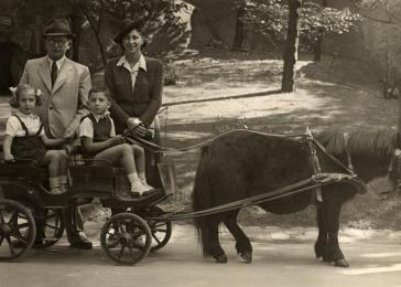 Two children go on an excursion on a pony cart in the zoo.  Pictured in the cart are Manny Mandel and Yudit Krishaber. Behind them are Erno Krishaber and Ella Mandel.