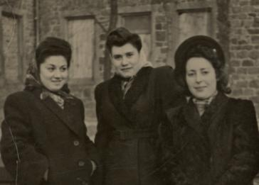 Portrait of three young Jewish women in the Bensheim displaced persons' camp. Shulamit Perlmutter is pictured on the far left.