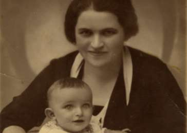 Studio portrait of Marcel Drimer and his mother Laura.