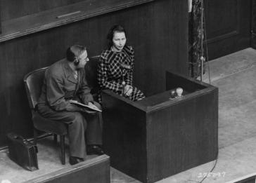 Vladislava Karolewska, a victim of medical experiments, who appeared as a prosecution witness at the Doctors Trial. Nuremberg, Germany, December 22, 1946