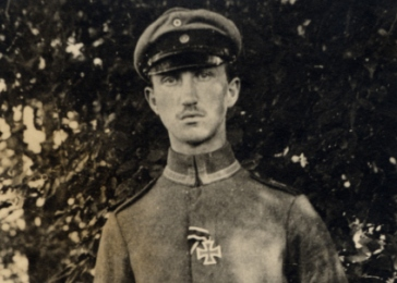 World War I-era portrait of Erwin Heilbronner, a Jewish soldier wearing the German Iron Cross awarded in recognition of his bravery in battle. In 1942, Erwin and his wife Flora were deported to the Drancy transit camp in occupied France. From there they were sent to the Auschwitz killing center and murdered.
