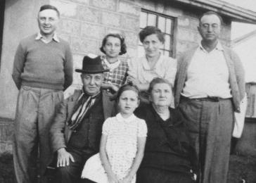 Group portrait of members of the extended Berg family on their farm near Limuru, Kenya (Kiambu district), where they found refuge during World War II. Pictured are Joseph and Klara Berg, their daughters Inge and Gisela and parents Max and Klara.