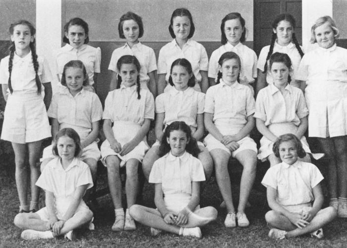 Group portrait of students in the British school in Nairobi, Kenya. Gisela Berg (top row, third from the left) was one of the only Jewish students in the school.