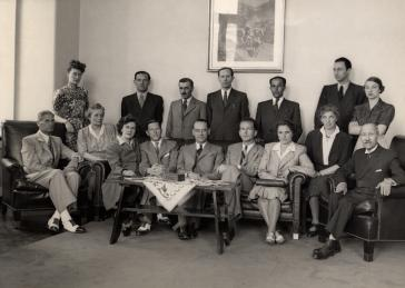 Staff of the Swiss embassy in Budapest. Carl Lutz, the Swiss vice-consul in Budapest, Hungary, sheltered Mantello's wife Iren, helped Mandel-Mantello distribute certificates in Hungary, and represented Salvadoran interests in Hungary.