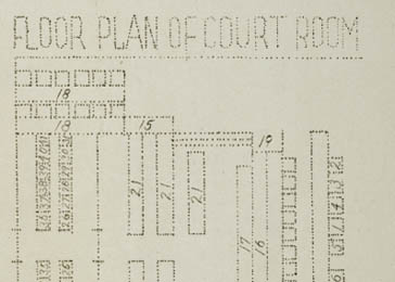 Floor plan of the court room which was part of a mimeographed program to the International Military Tribunal at Nuremberg for November 20, 1945.