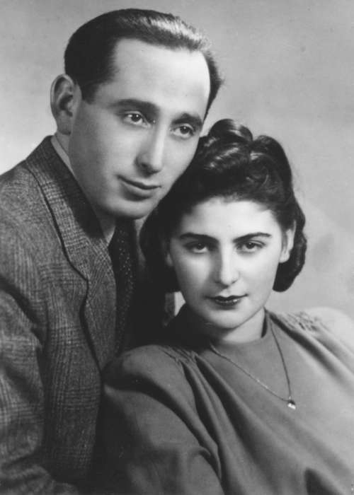 Miles and Chris Lerman pose for their wedding portrait in Lodz, Poland, February 25, 1946. <i>US Holocaust Memorial Museum</i>