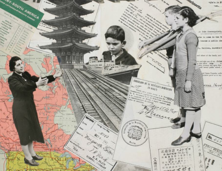 Collage depicting forced emigration from Austria to various countries in the world, including the United States, ca. 1940 (detail).